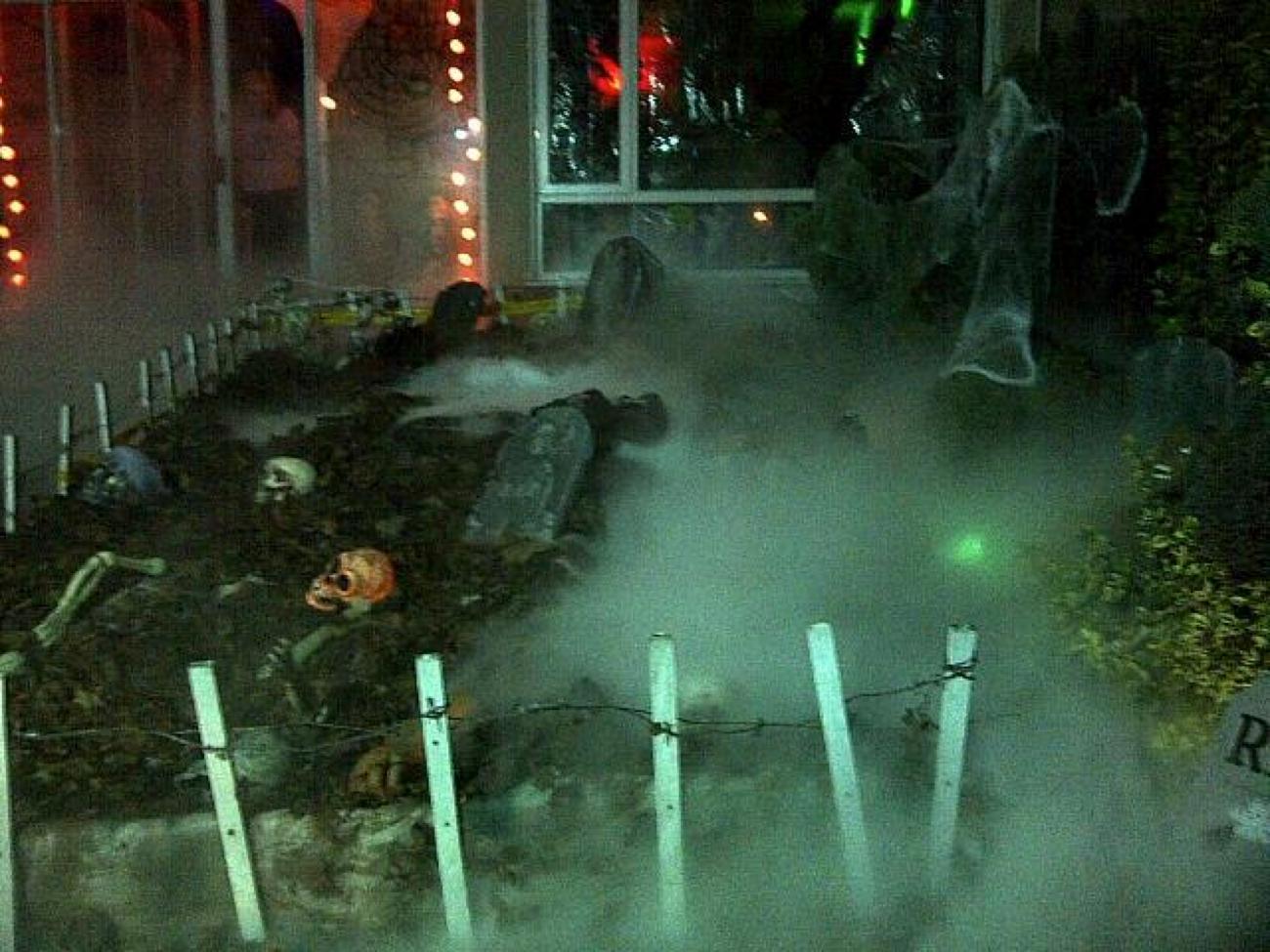 Dry ice foggy garden graveyard