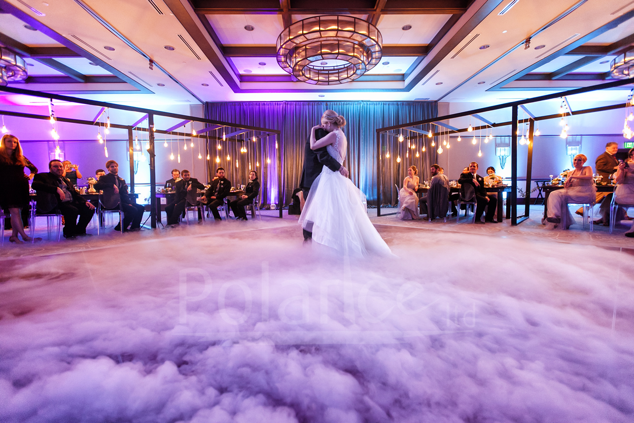 Dry Ice for wedding first dance creating flowing fog effect